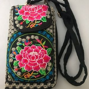Cross Body Embroidered Flower Theme Wallet